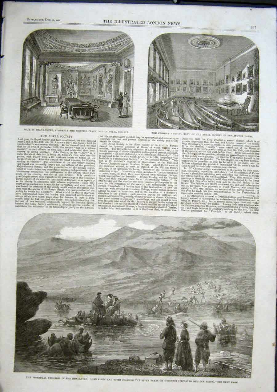 Print Crossing River On Mussucks India 1863 Inflated Skins 97Aaa1 Old Original