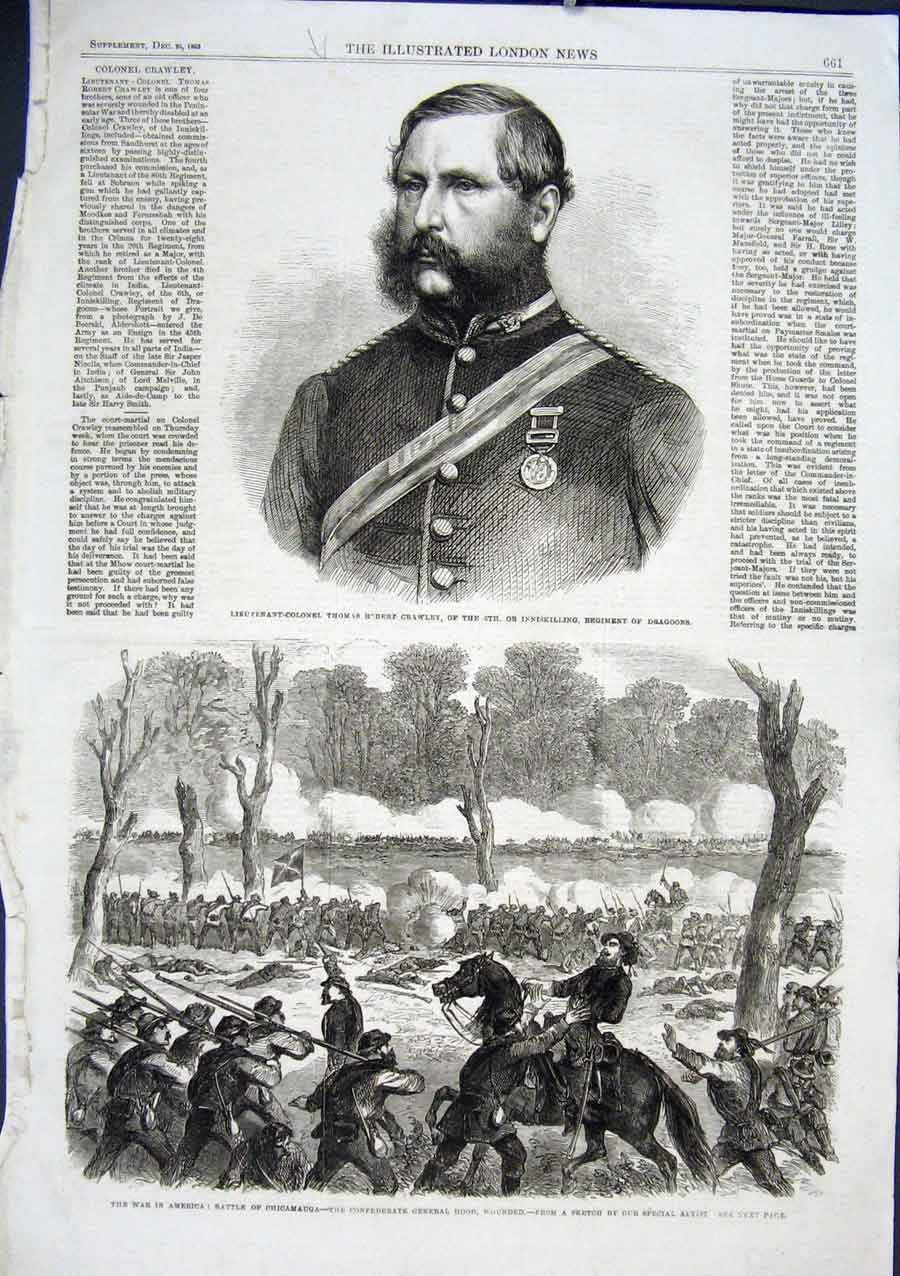 Print War America 1863 Battle Chicamauga & Gen Hood Wounded 61Aaa1 Old Original