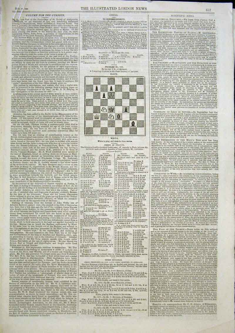 Print 5 Chess Problems And Solutions 1863 67Aaa1 Old Original