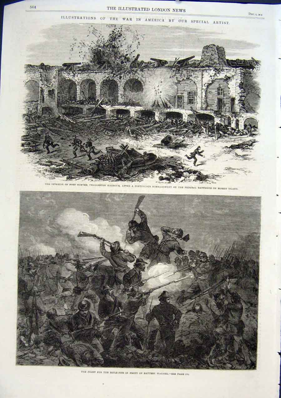 Print Fort Sumter Charleston 1863 America Civil War 64Aaa1 Old Original