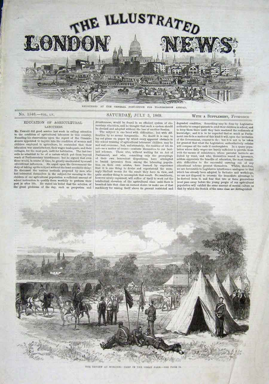 Print Army Camp In Great Park Windsor 1869 02Aaa1 Old Original
