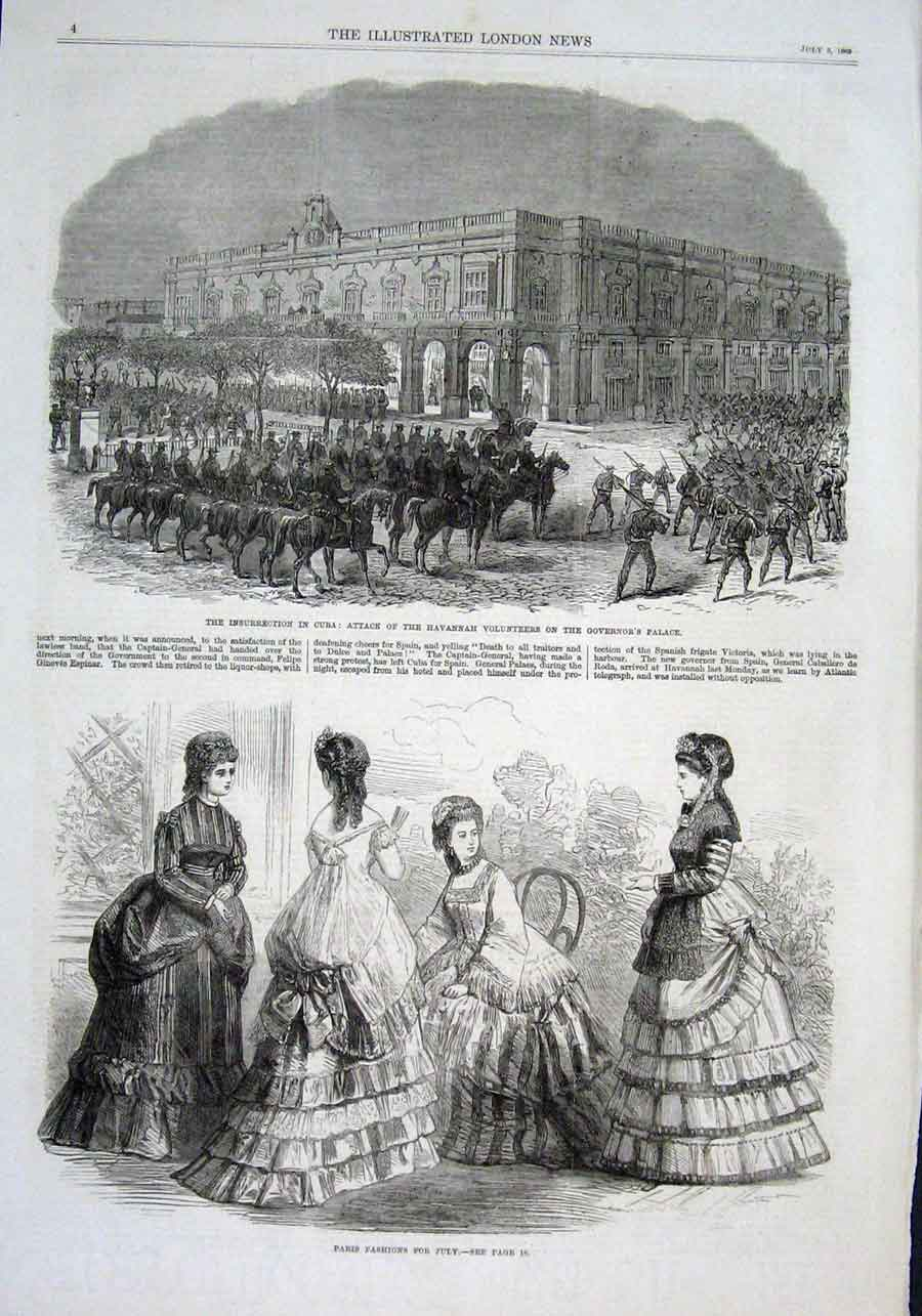 Print Governors Palace Cuba 1869 Insurrection 04Aaa1 Old Original