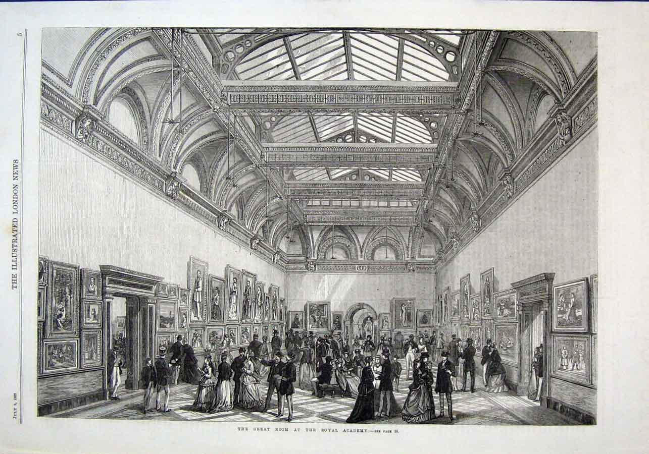Print The Great Room Royal Academy 1869 05Aaa1 Old Original