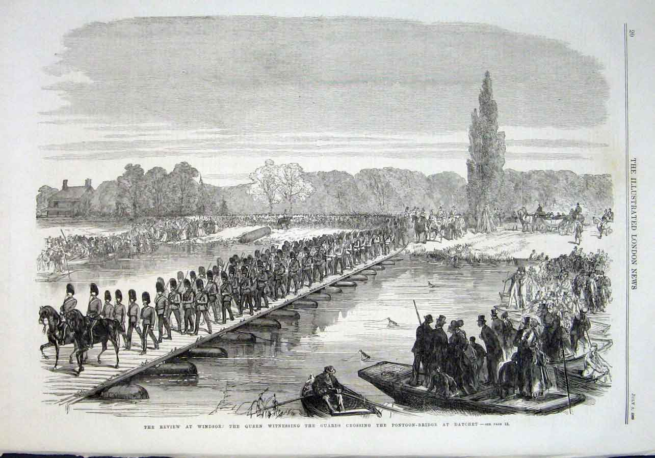 Print Guards Cross Pontoon Bridge At Dachet Windsor 1869 20Aaa1 Old Original