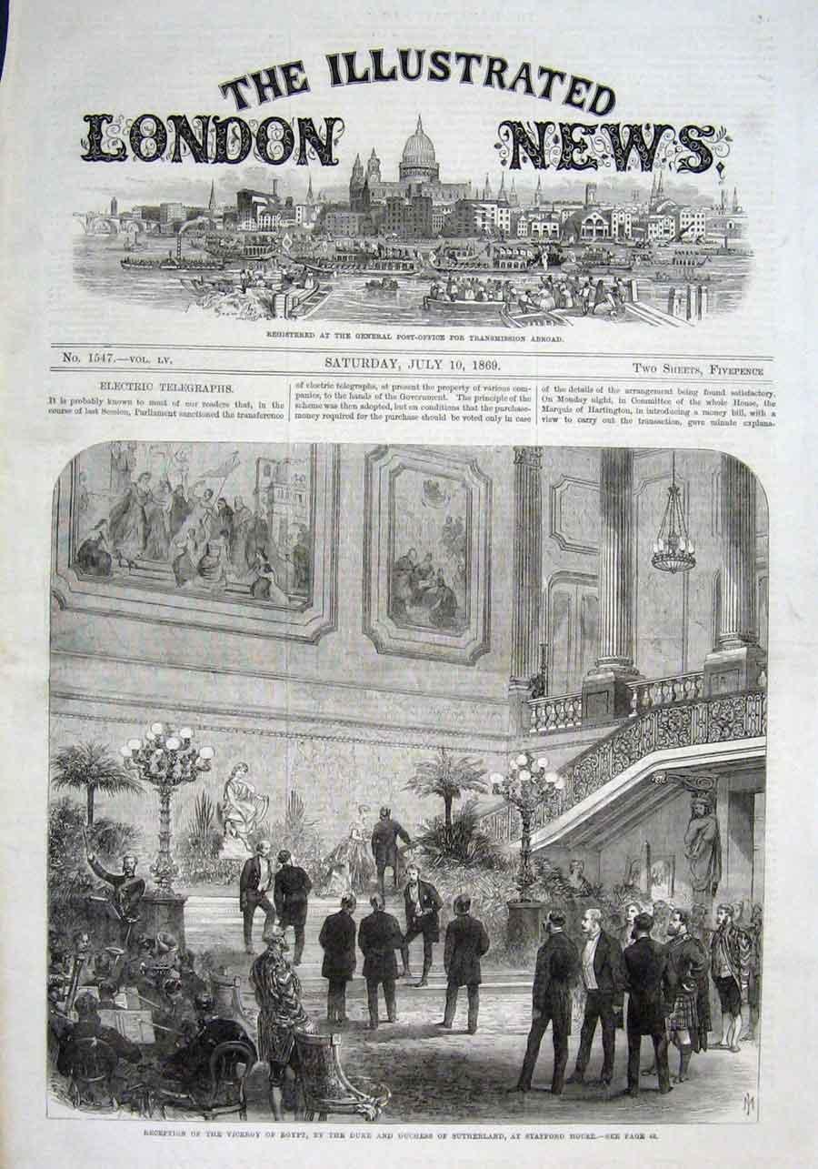Print Stafford House Reception 1869 26Aaa1 Old Original