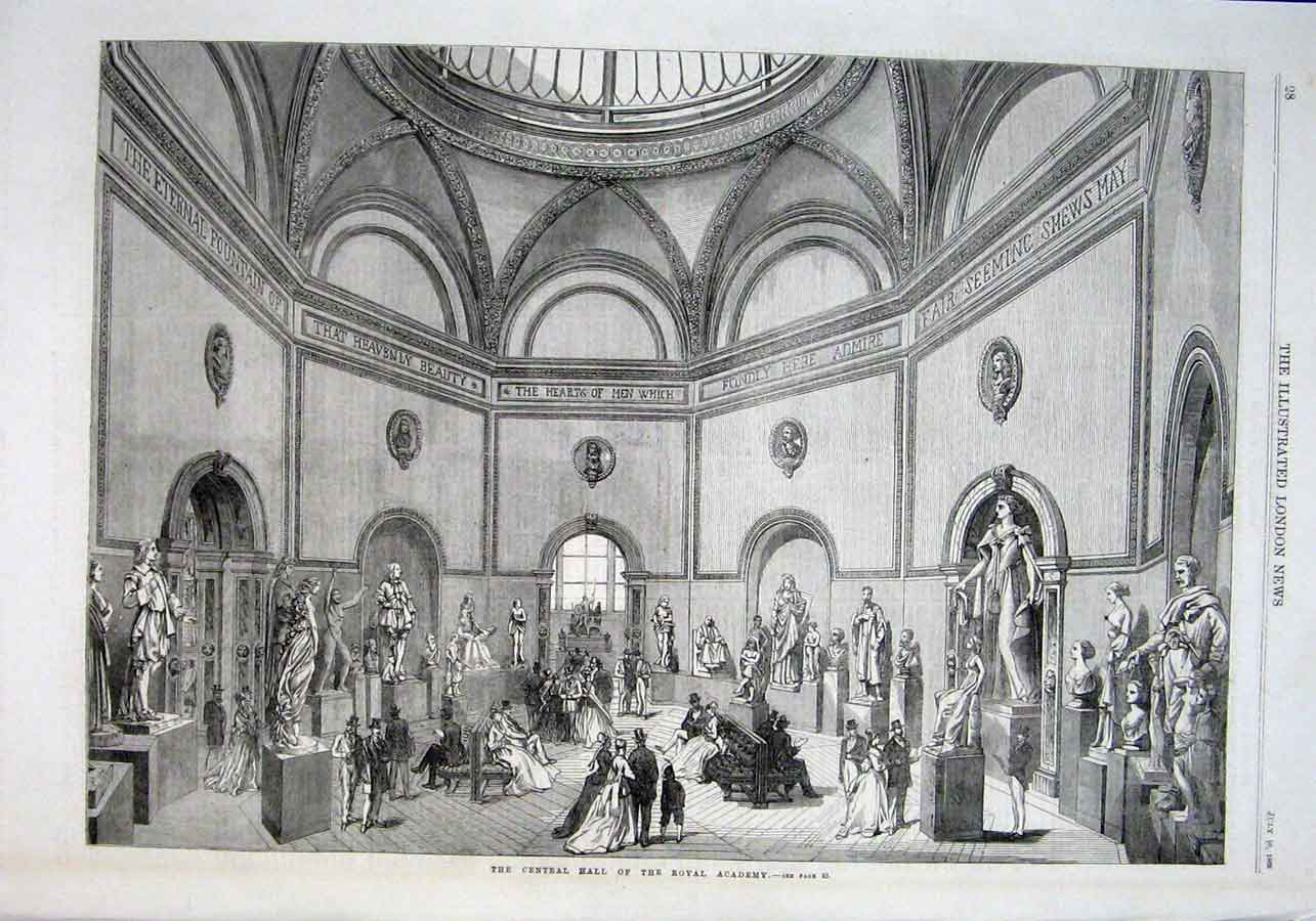 Print Central Hall Royal Academy 1869 28Aaa1 Old Original