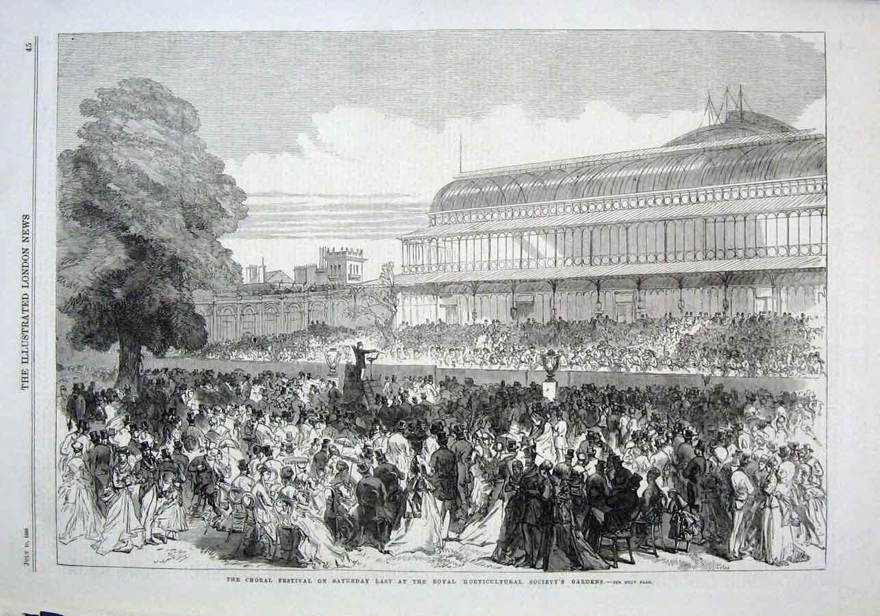 Print Choral Festival Horticultural Society Gardens 1869 45Aaa1 Old Original