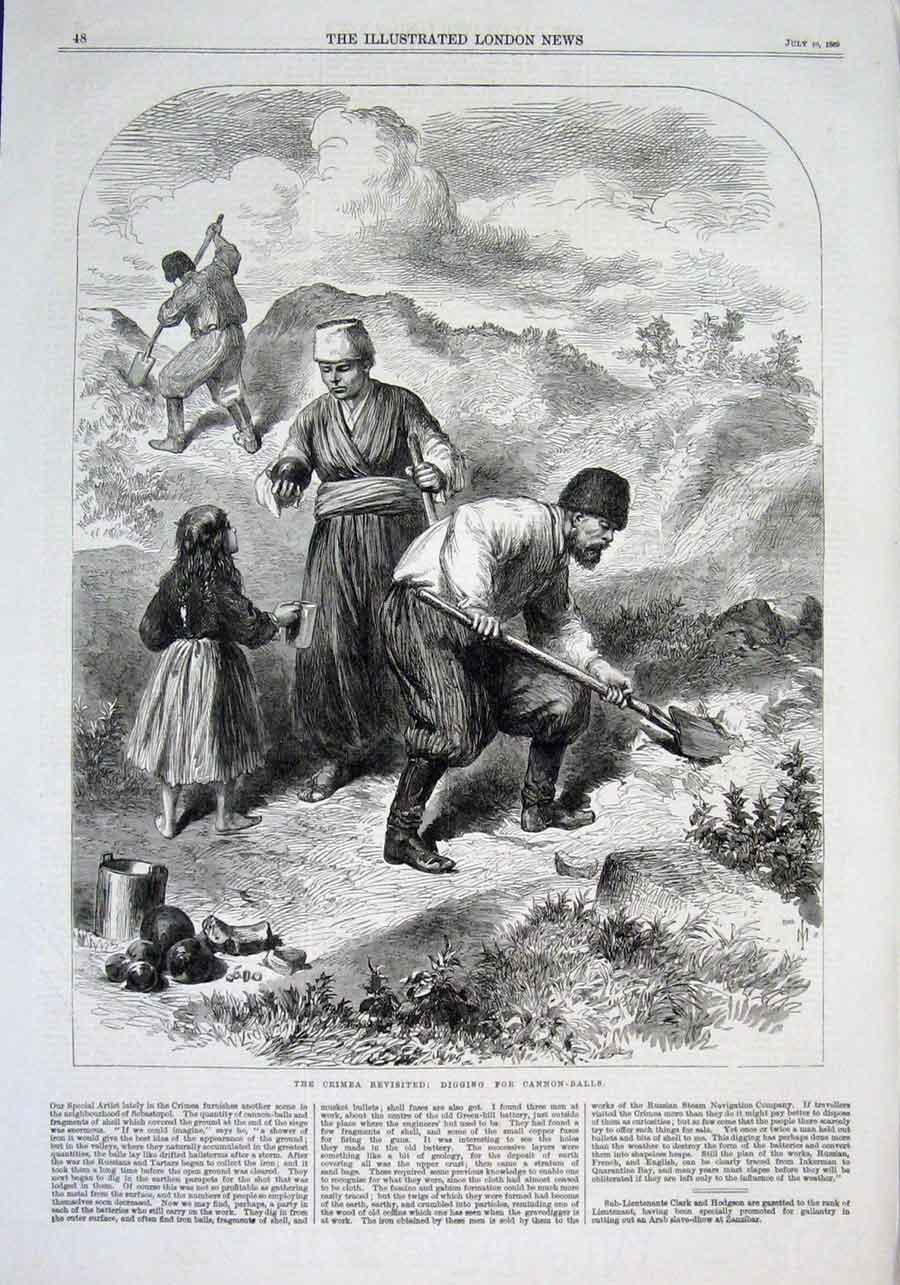 Print Digging For Cannon Balls Crimea 1869 48Aaa1 Old Original