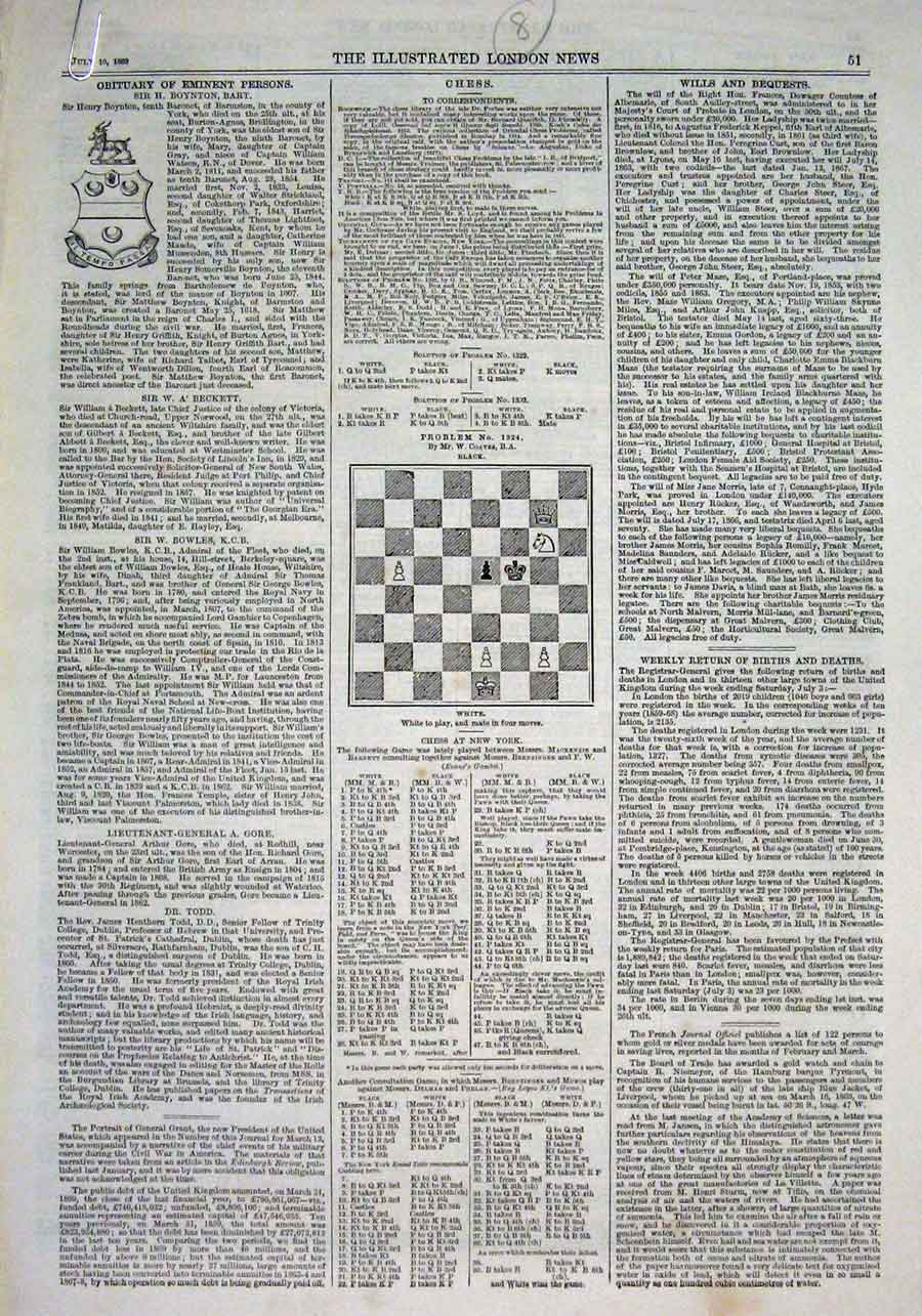 Print 1869 Chess Problems & Solutions 1869 51Aaa1 Old Original