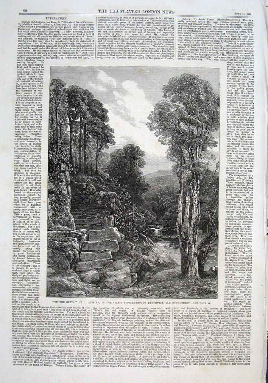 Print On The Greta By Chester 1869 Fine Art 80Aaa1 Old Original