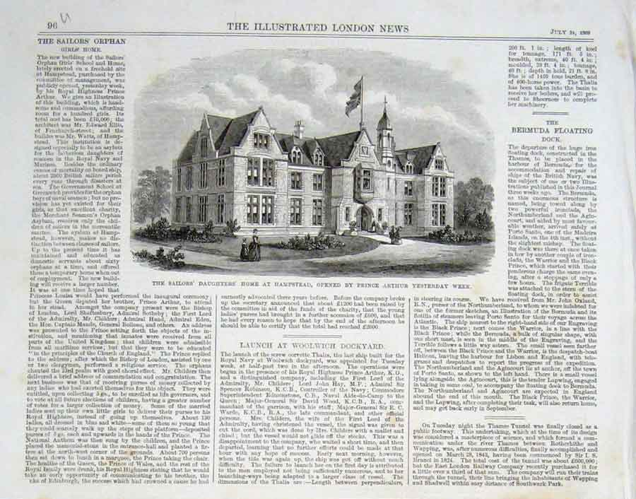 Print Sailors Daughters' Home Hampstead 1869 96Uaaa1 Old Original
