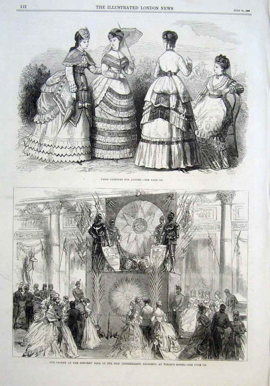 Print Trophy At Officers Ball Inniskilling Reg 1869 12Aaa1 Old Original