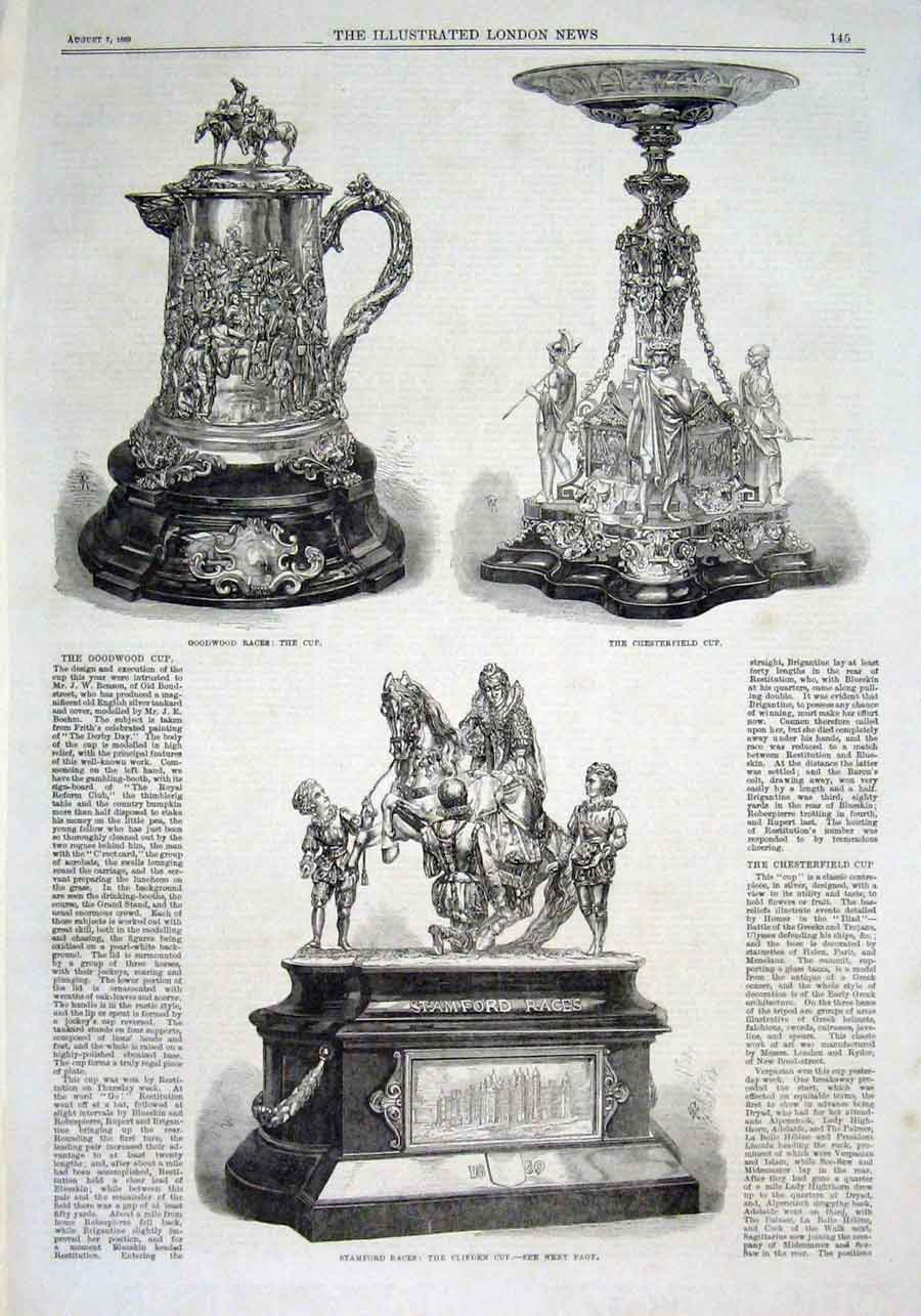 Print Trophies Stamford Chesterfield & Goodwood Races 1869 45Aaa1 Old Original