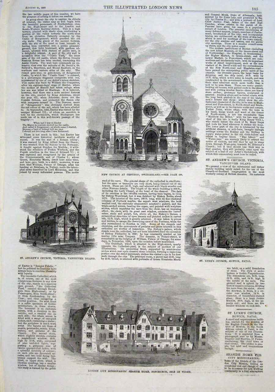 Print Churches At Genthod Switzerland Vancouver Howick Nata 85Aaa1 Old Original