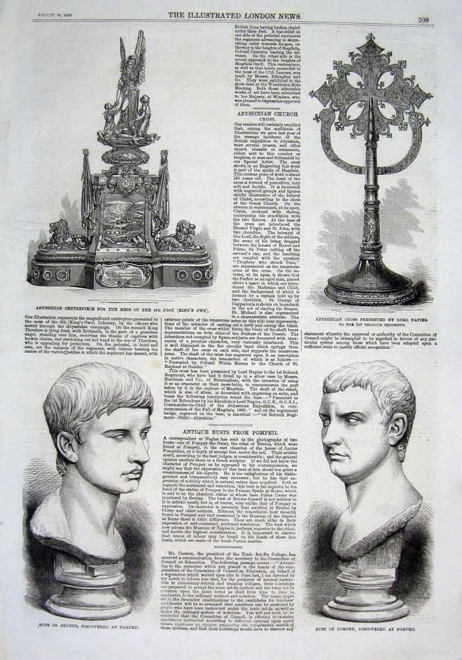 Print Mess Silver 4Th Foot Busts Brutus & Pompey At Pompeii 09Aaa1 Old Original