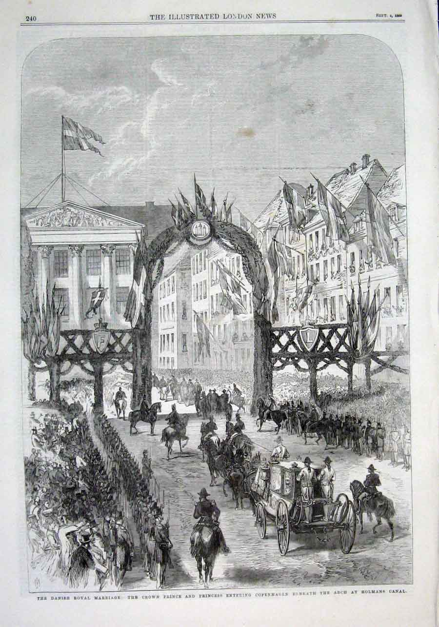 Print Danish Royal Marriage Arch Holmans Canal Copenhagen 18 40Aaaa1 Old Original