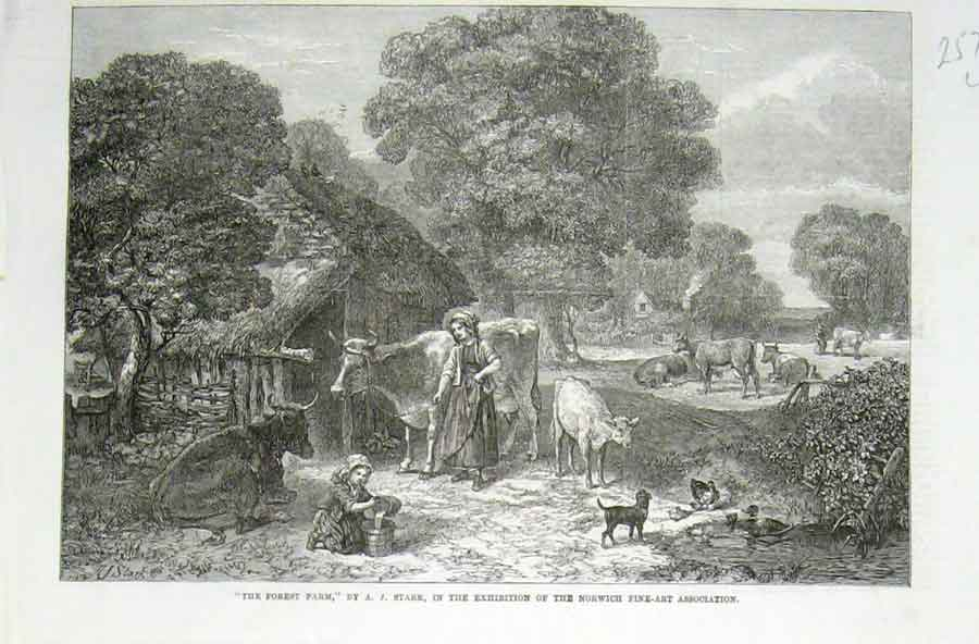 Print The Forest Farm By Starr 1869 Fine Art 57Laaa1 Old Original