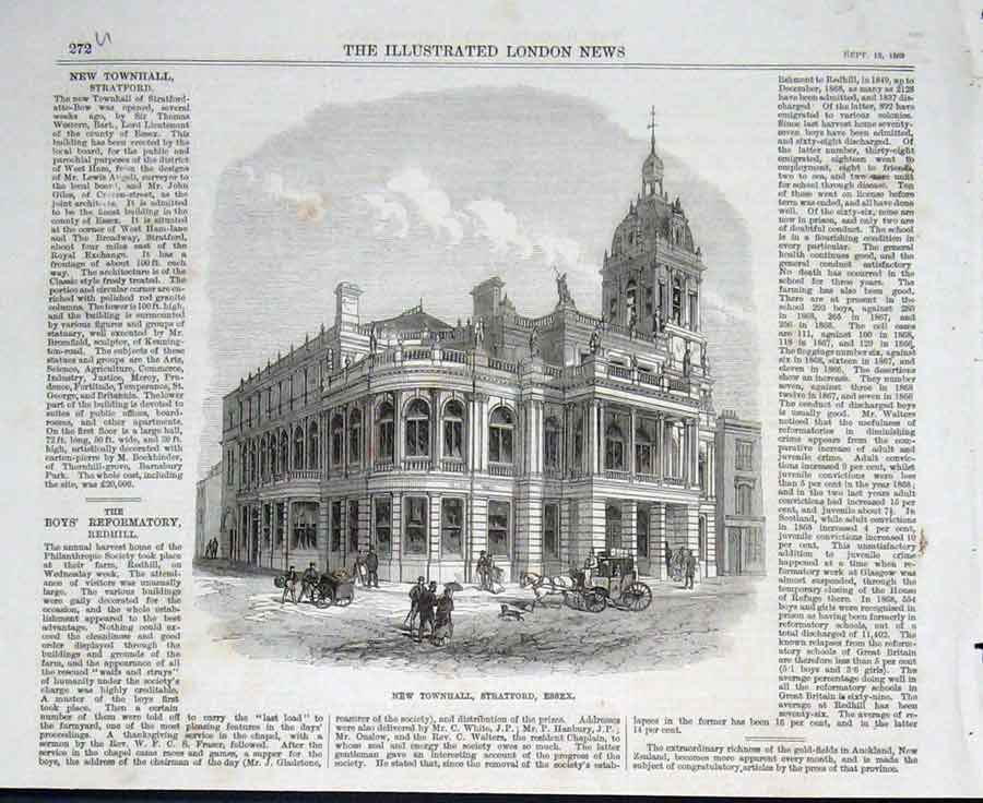 Print New Town Hall Stratford Essex 1869 72Uaaa1 Old Original