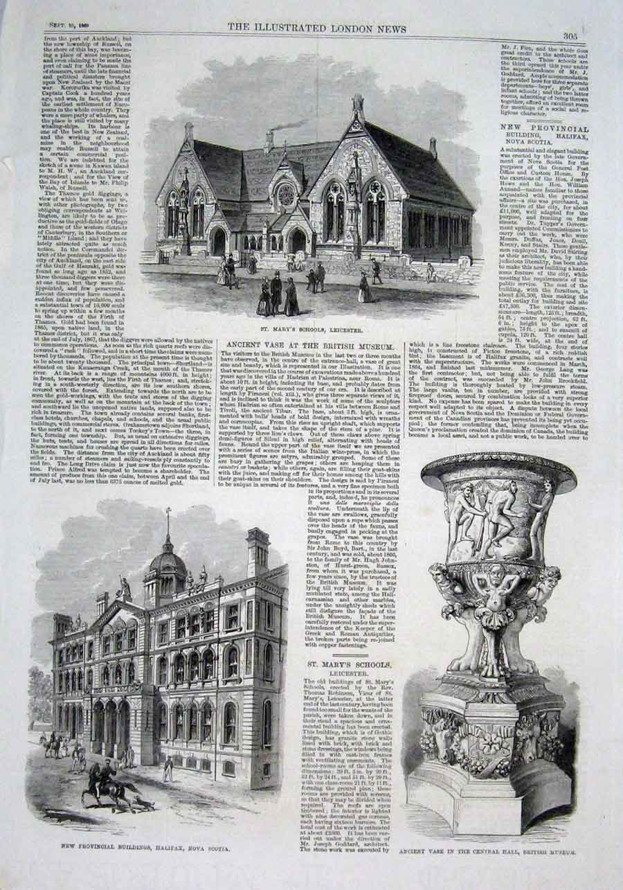 Print St Mary'S School Leicester Provincal Buildings Halifax 05Aaa1 Old Original