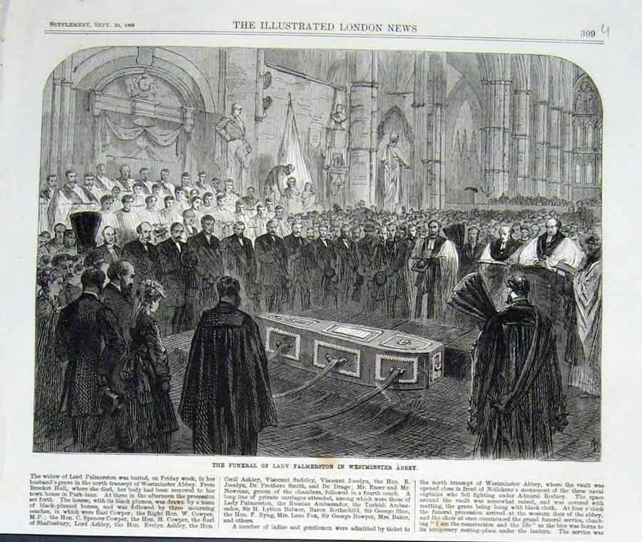 Print Funeral Lady Palmerston Westminister Abbey 1869 09Uaaa1 Old Original