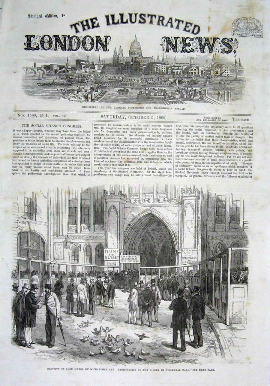 Print Election Lord Mayor Michaelmas Day 1869 42Aaa1 Old Original
