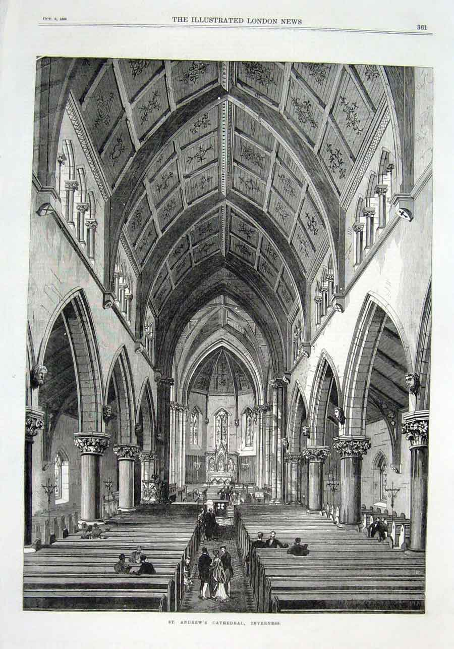 Print St Andrew'S Cathedral Inverness Scotland 1869 61Aaa1 Old Original
