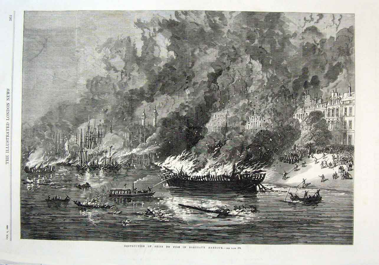 Print Ships Destroyed By Fire Bordeaux Harbour 1869 65Aaa1 Old Original