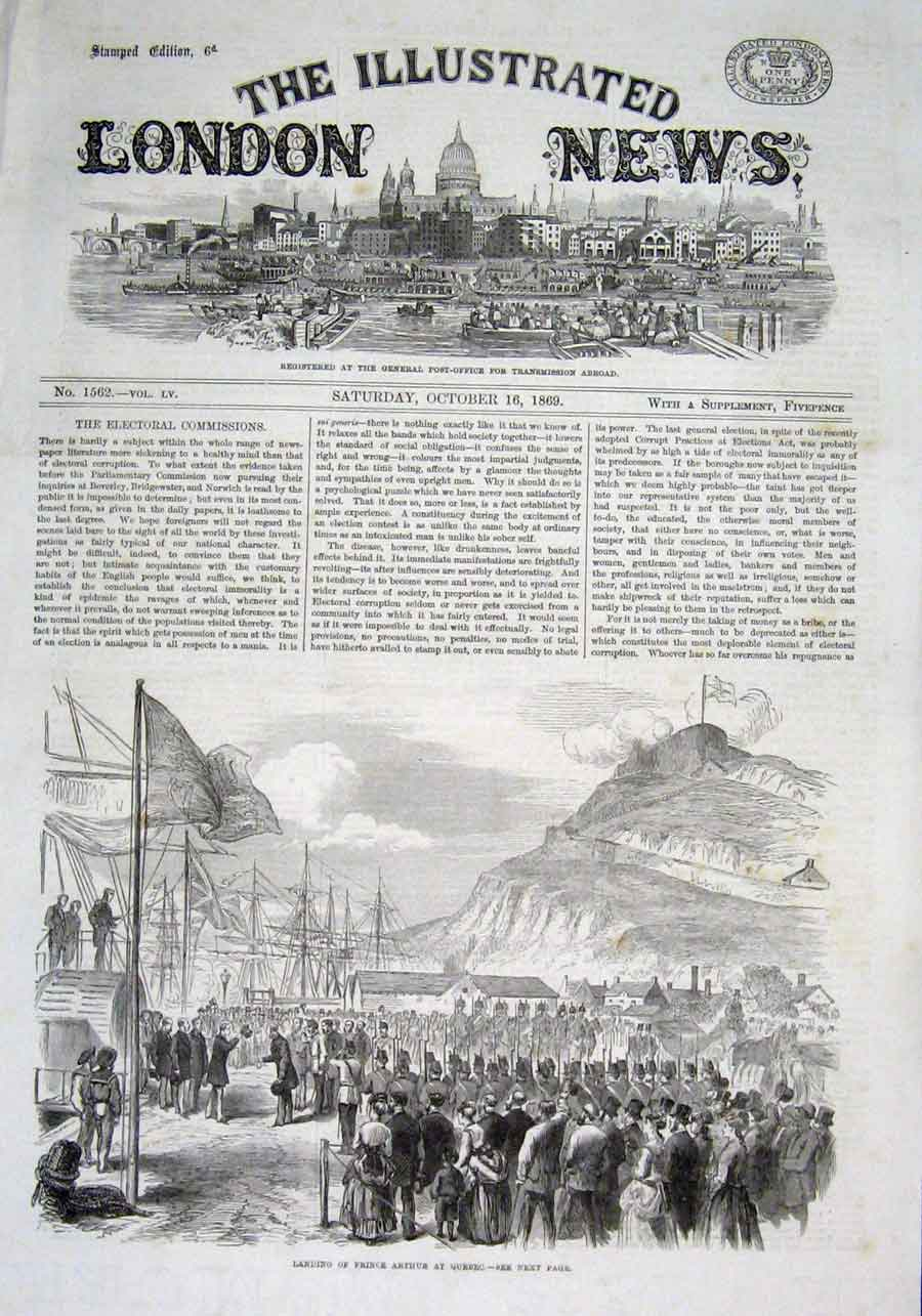 Print Prince Arthur Lands At Quebec Canada 1869 74Aaa1 Old Original