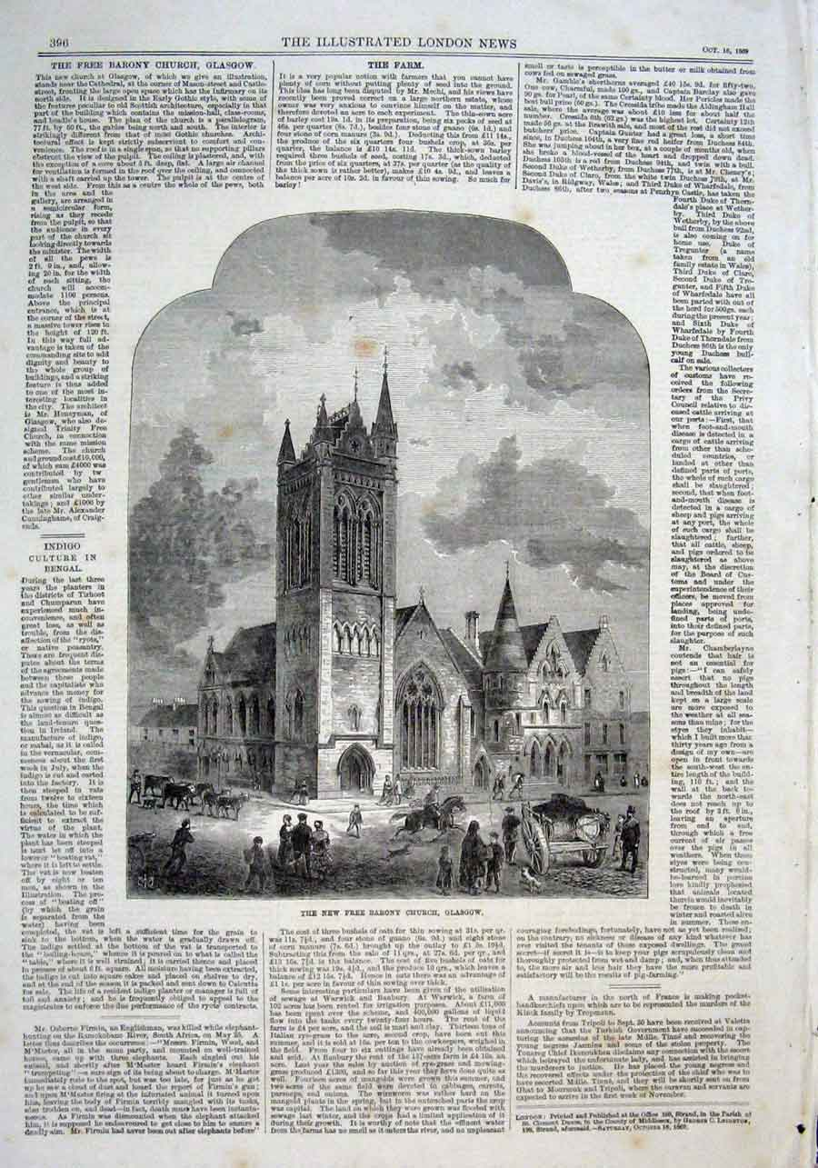 Print New Free Barony Church Glasgow 1869 Scotland 96Aaa1 Old Original