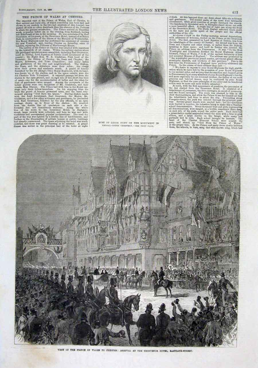 Print Prince Wales At Grosvenor Hotel Chester 1869 13Aaa1 Old Original