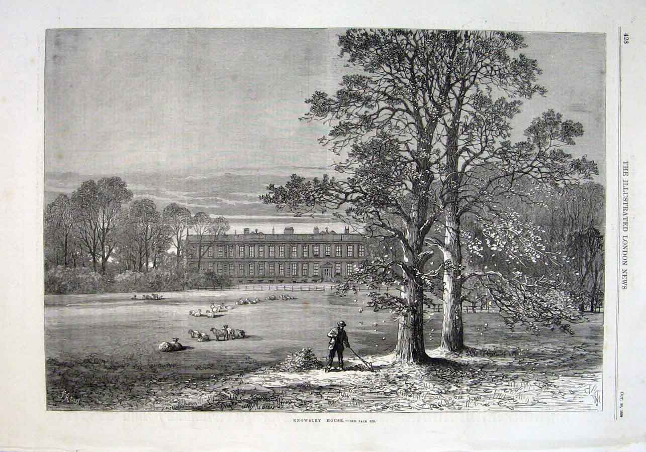 Print Knowsley House 1869 28Aaa1 Old Original