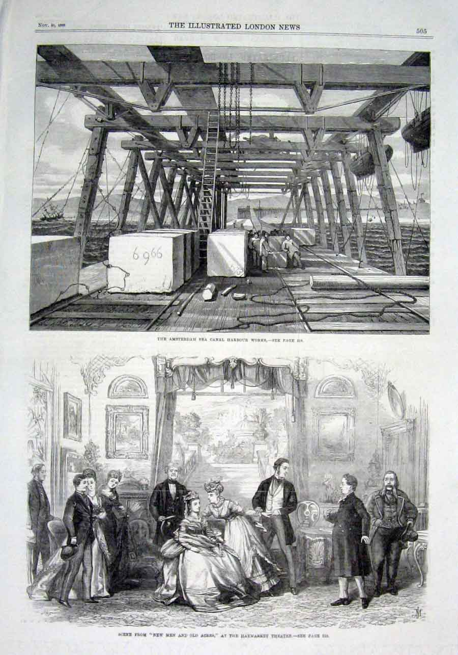 Print Amsterdam Sea Canal Harbour Works Holland 1869 05Aaa1 Old Original