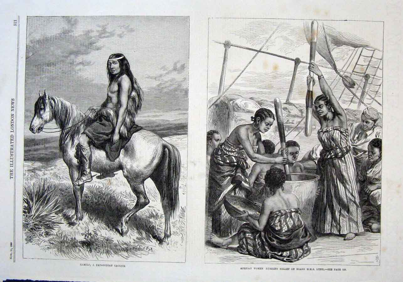 Print Kamilo A Patogonian Cacique African Women Husking Meal 21Aaa1 Old Original