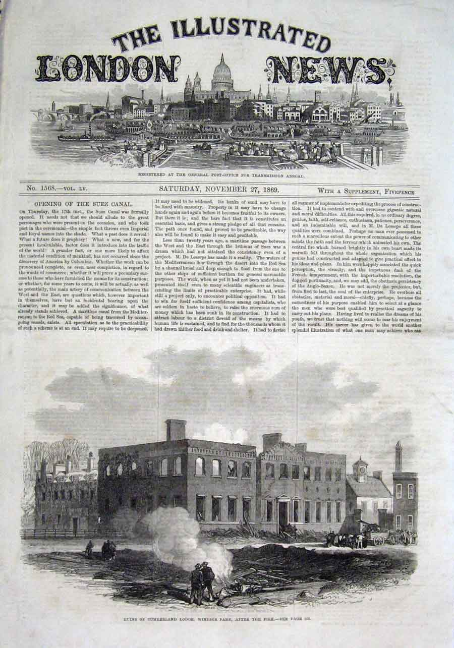 Print Ruins Cumberlodge Windsor Park After Fire 1869 26Aaa1 Old Original