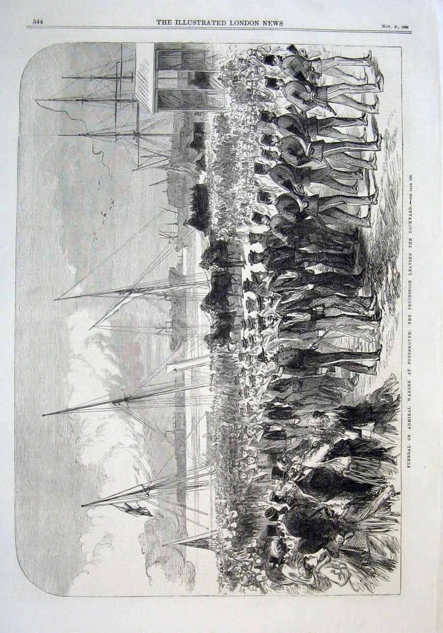 Print Funeral Admiral Warden At Portsmouth 1869 44Aaa1 Old Original