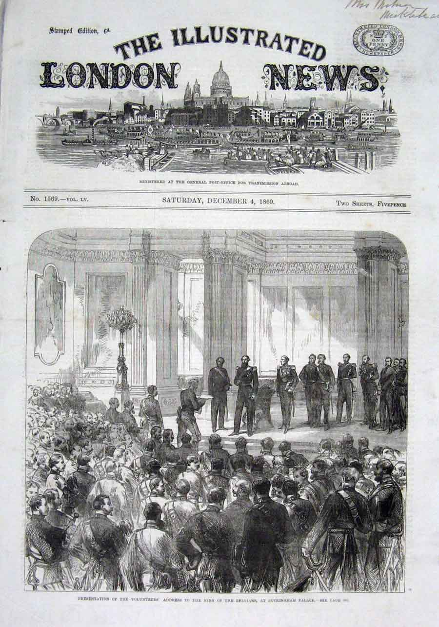 Print King Belgians At Buckingham Palace 1869 50Aaa1 Old Original