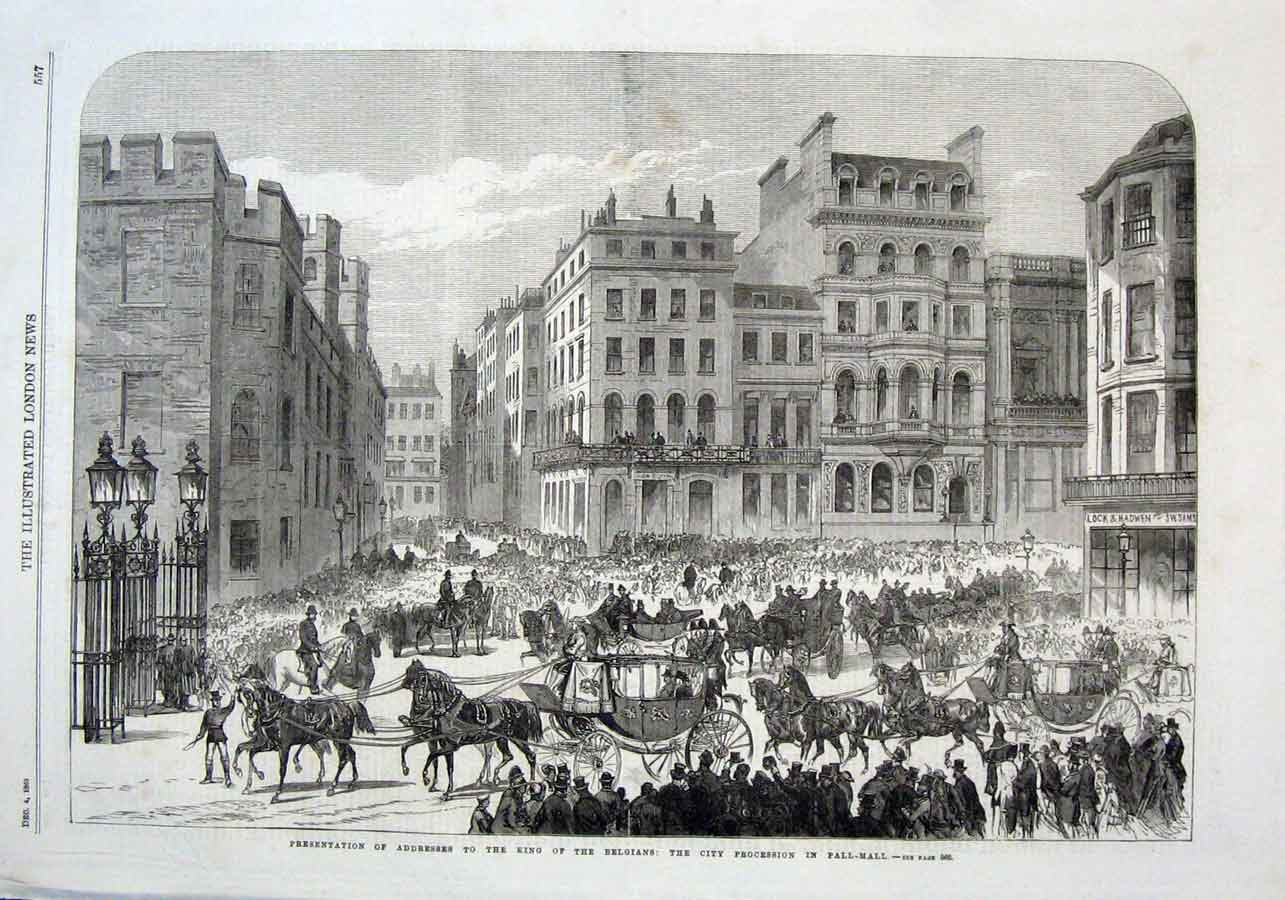 Print City Procession King Belgians In Pall Mall London 1869 57Aaa1 Old Original