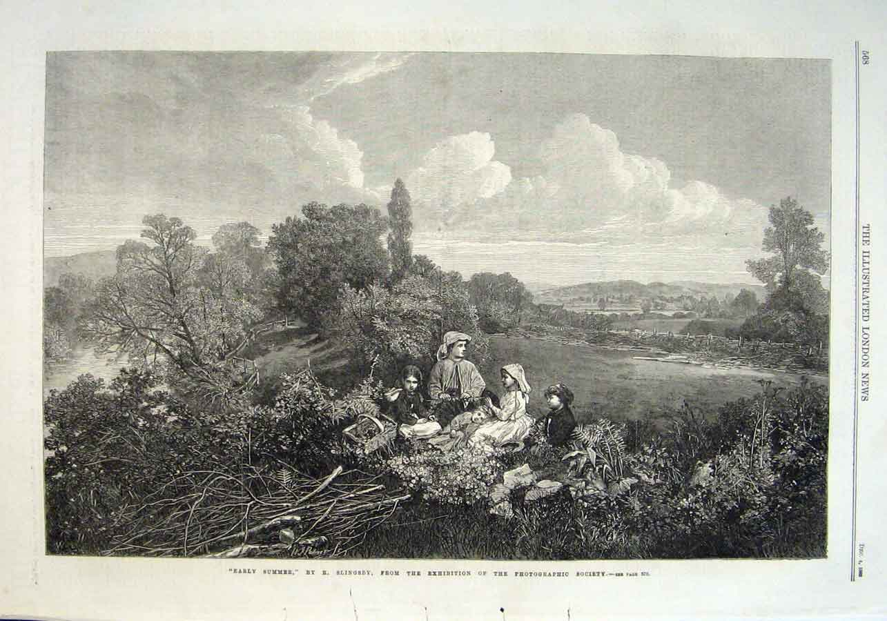 Print Early Summer Picnic By Slingsby Fine Art 1869 68Aaa1 Old Original