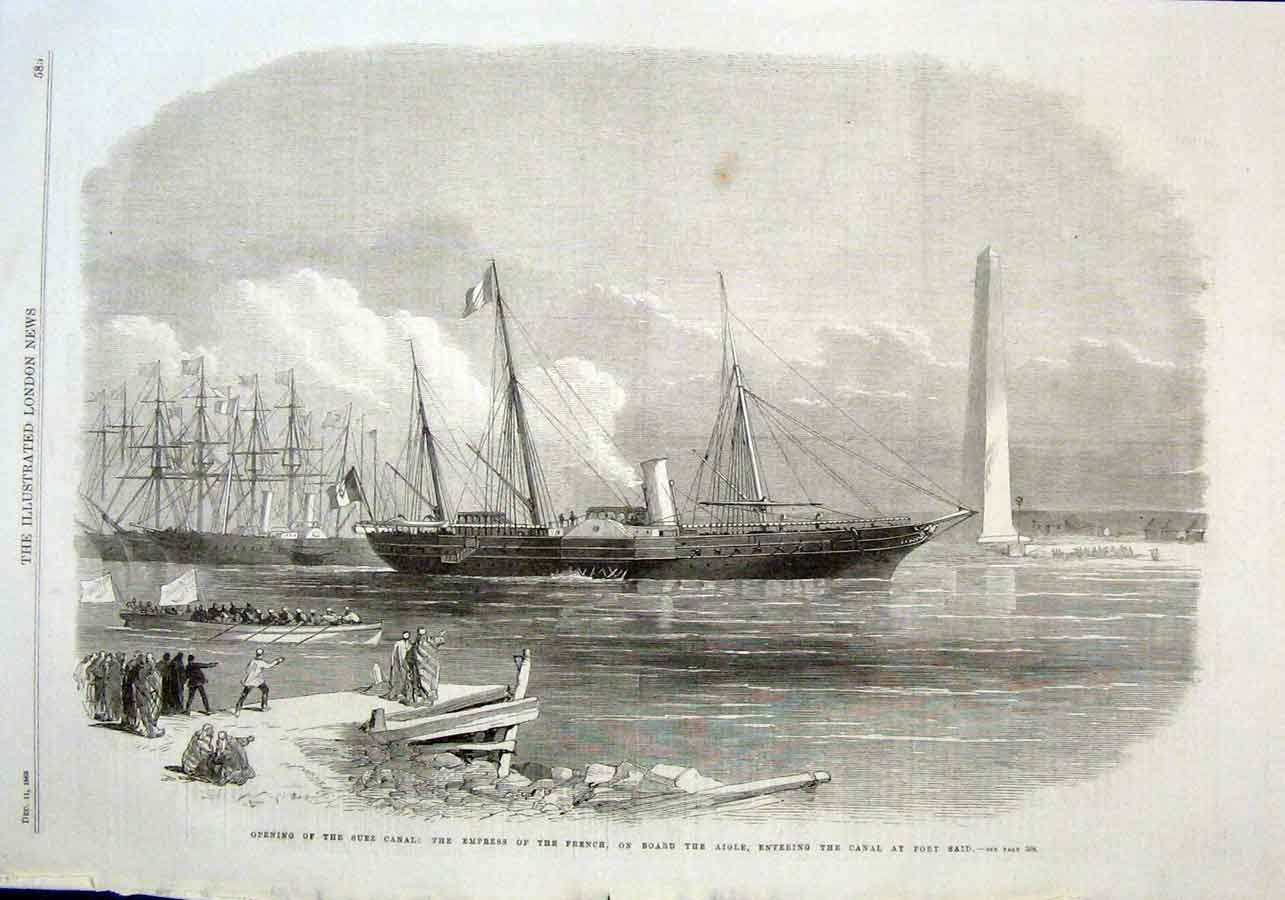 Print French Ship Aigle Enters Suez Canal 1869 85Aaa1 Old Original
