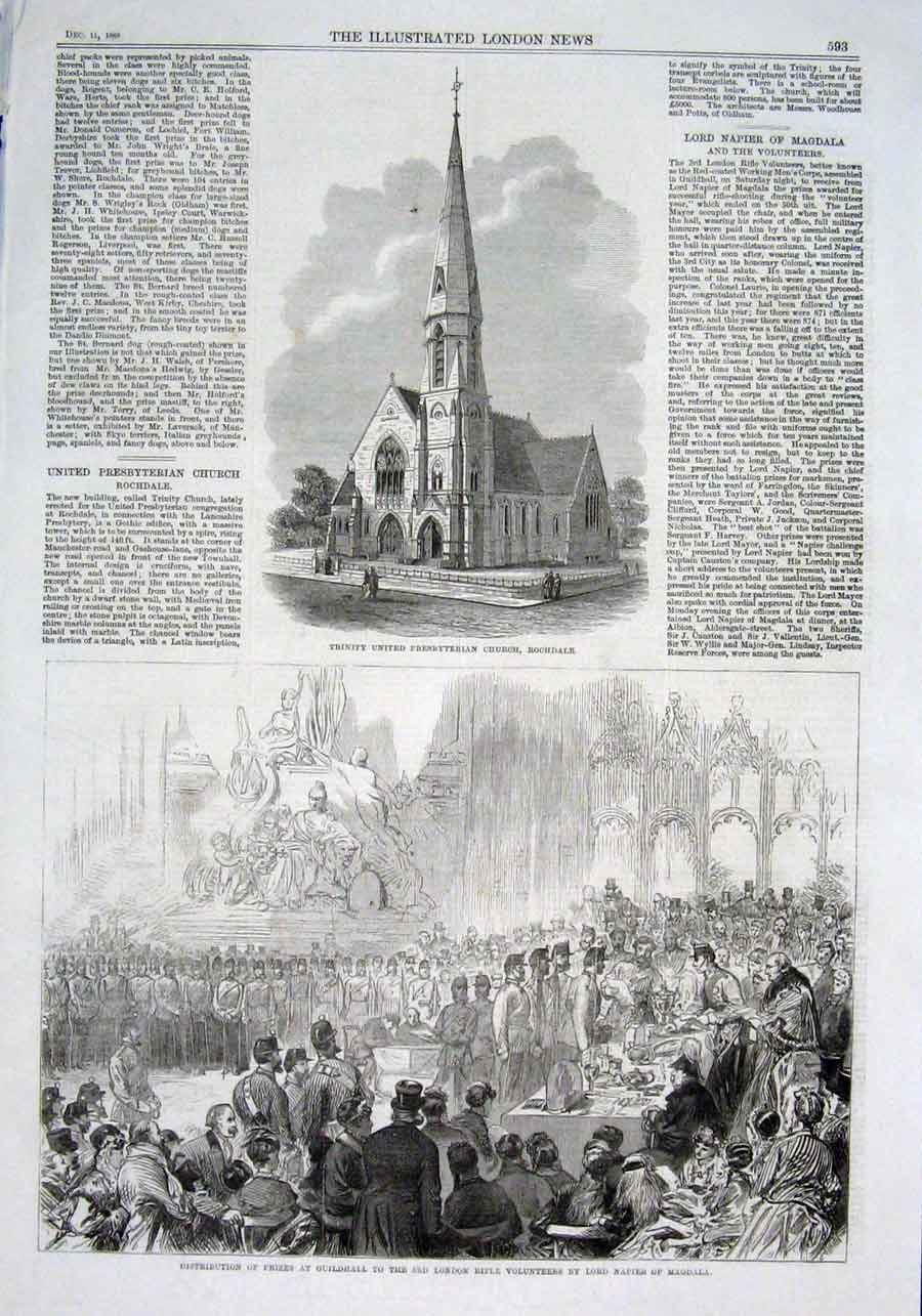 Print Trinity United Presbyterian Church Rochdale 1869 93Aaa1 Old Original