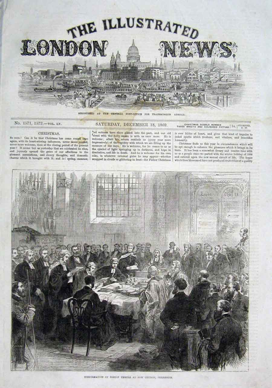 Print Confirmation Bishop Temple Bow Street Church Cheapside 06Aaa1 Old Original