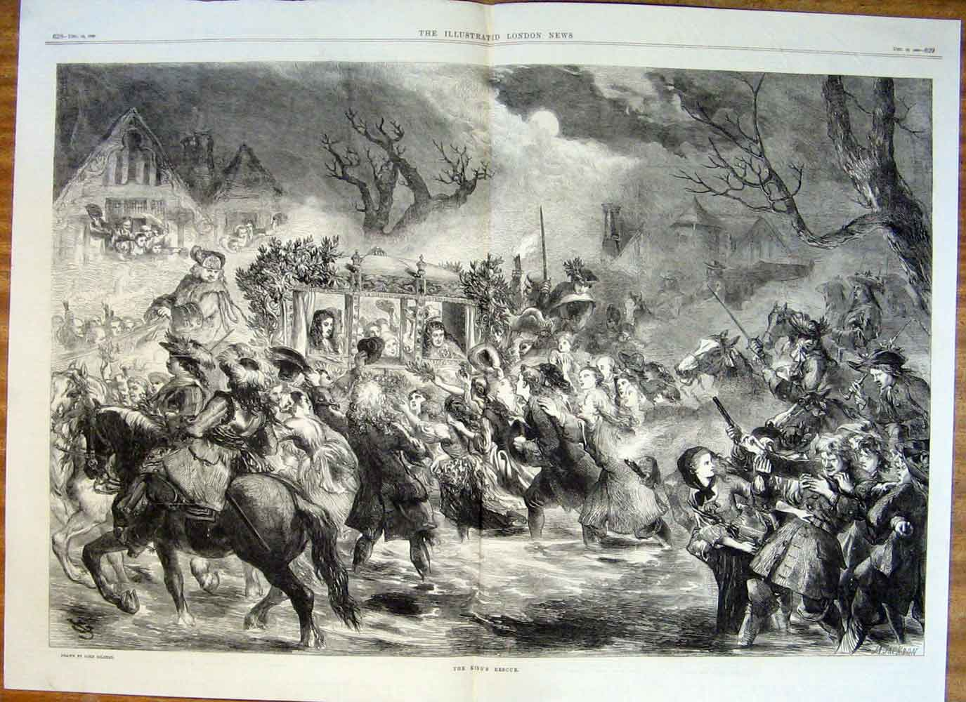 Print Kings Rescue Fine Art By Gilbert 1869 27Taaa1 Old Original