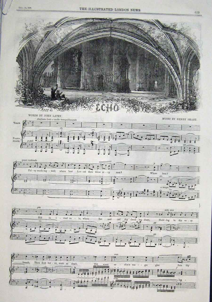 Print Music & Words Echo By Latey & Smart 1869 39Aaaa1 Old Original
