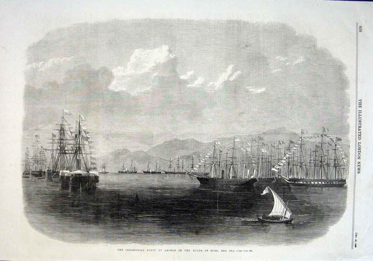 Print Ships At Anchor Roads Suez Red Sea 1869 56Aaa1 Old Original