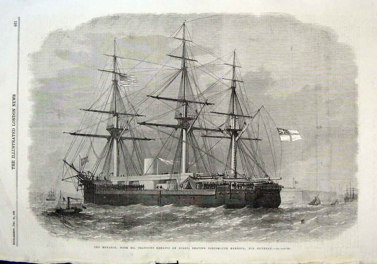 Print Monarch 1869 Ship Portsmouth With Peabodys Remains 61Aaa1 Old Original