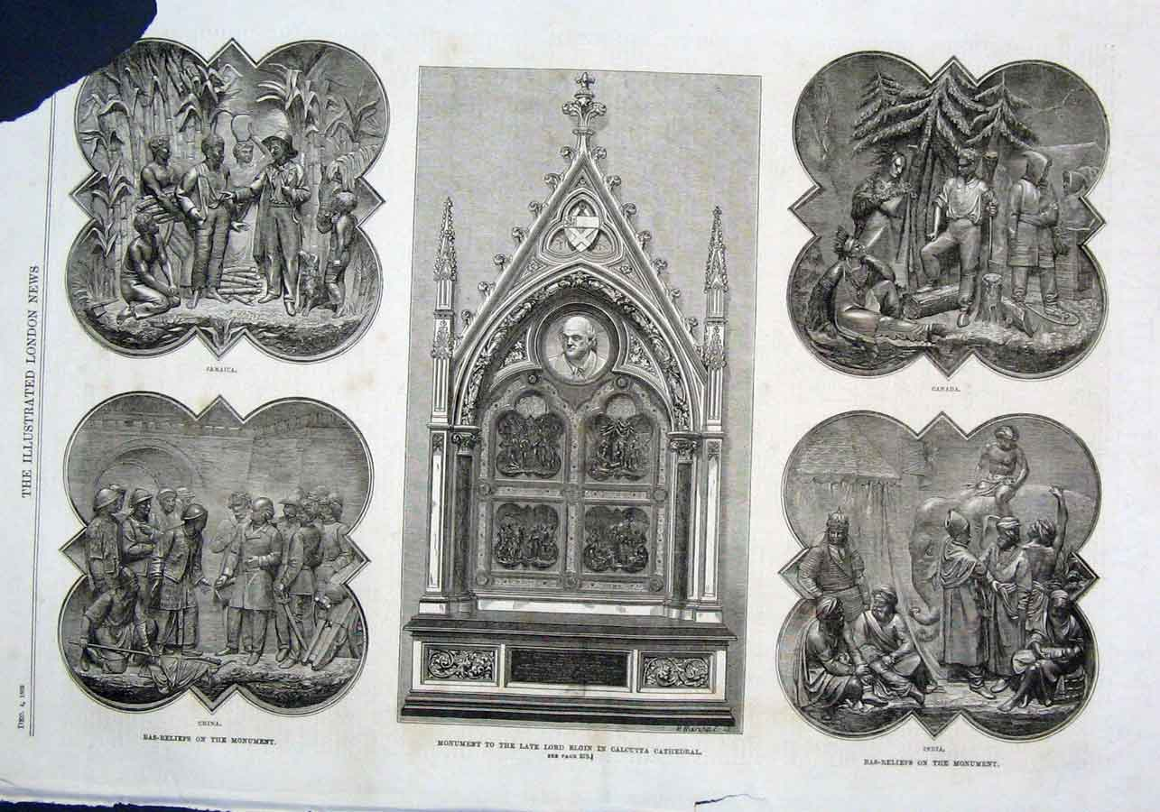 Print Monument Lord Elgin Calcutta Cathedral India 1869 10Aaa1 Old Original