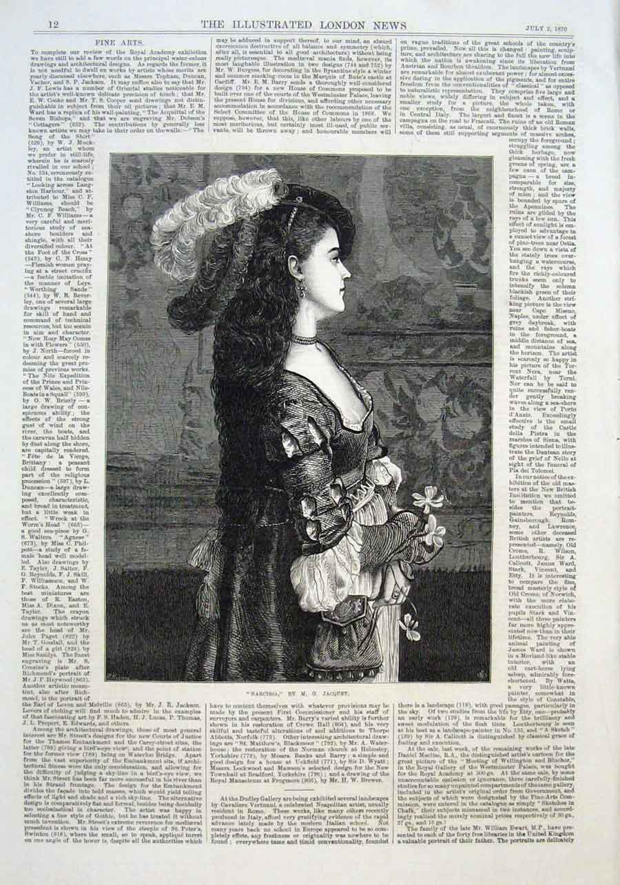 Print Narcissa By Jacquet 1870 Fine Art 12Aaa1 Old Original