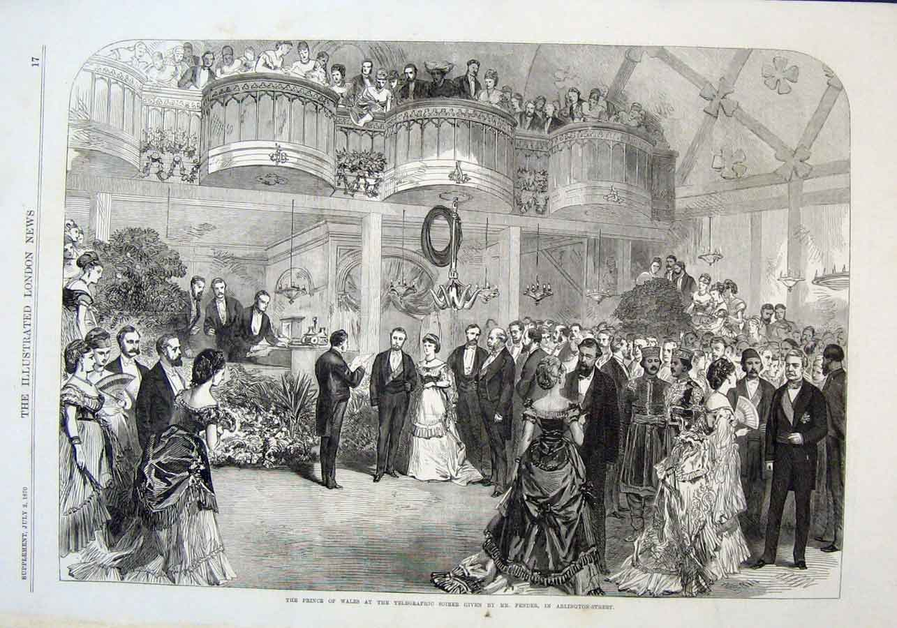 Print Prince Wales At Telegraphic Soiree In Arlington Street 17Aaa1 Old Original
