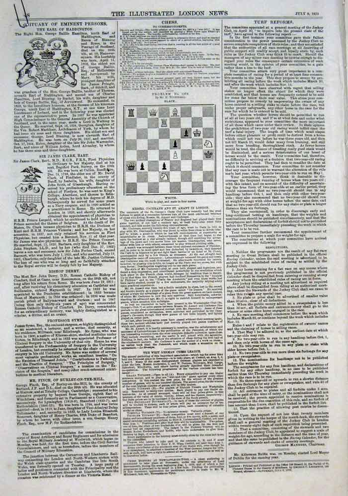 Print 7 Chess Problems & Solutions 1870 48Aaa1 Old Original