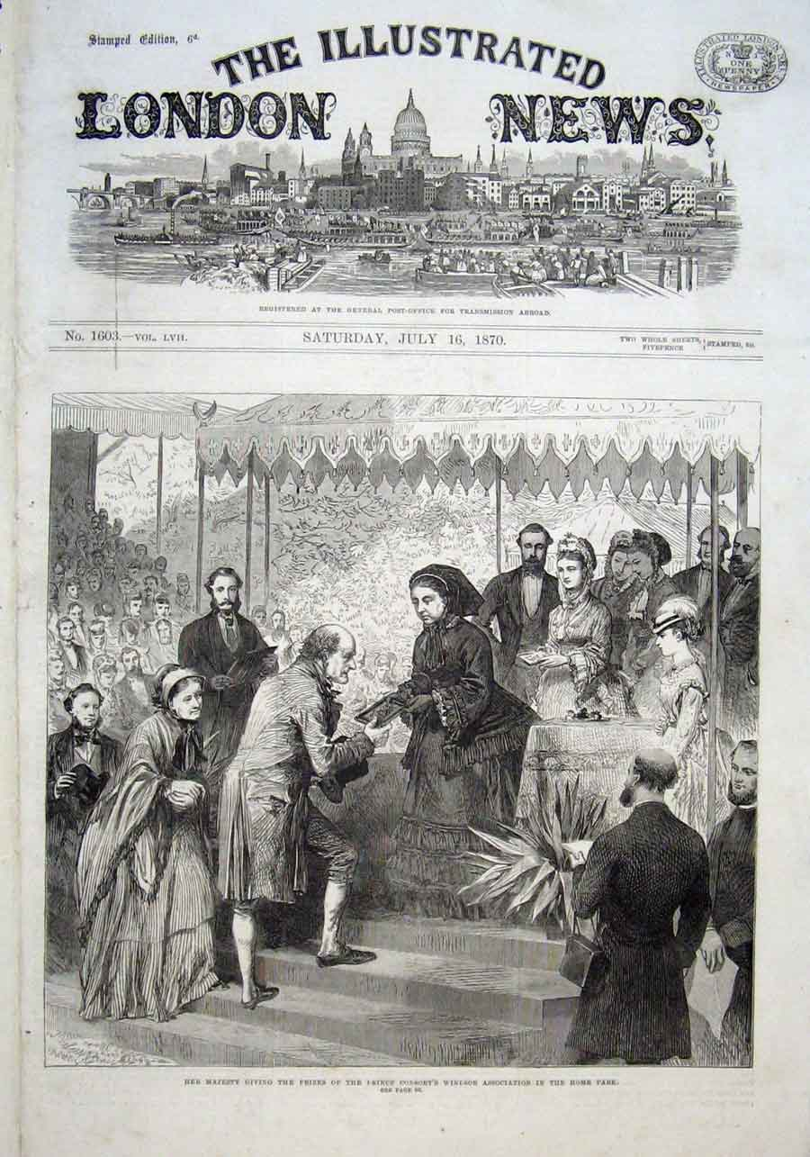 Print Queen Victoria Giving Prizes Windsor Association 1870 50Aaa1 Old Original
